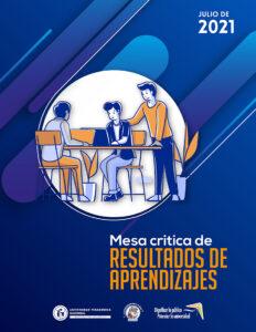 Portada del documento institucional, Mesa crítica de resultados de aprendizajes, ilustración de un grupo de trabajo integrado por los diferentes miembros de la comunidad UPN